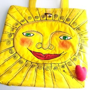 Merril Sun Tote Bag with Puffy Heart